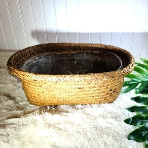 🌵Vintage Boho Wicker Double Planter Basket